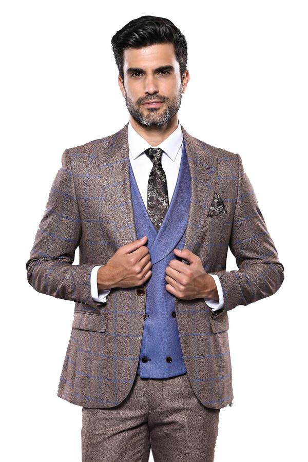 Ekose Kahverengi Kombinli Takım Elbise   Wessi