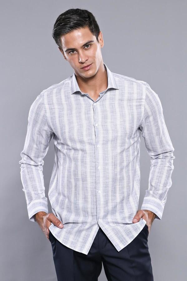 Ekose Lacivert Desenli Uzun Kollu Gömlek | Wessi