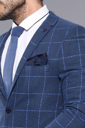 Ekose Lacivert Slim Fit Kışlık Ceket | Wessi