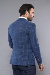 Ekose Lacivert Slim Fit Kışlık Ceket | Wessi - Thumbnail