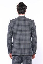 Ekose Lacivert Slim Fit Tek Ceket | Wessi - Thumbnail
