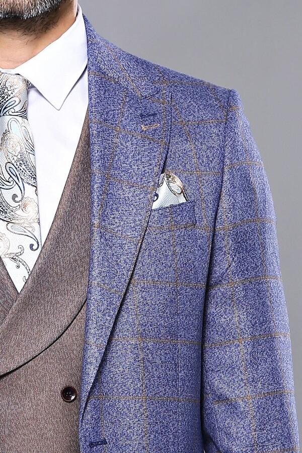 Ekose Lacivert Kombinli Takım Elbise | Wessi