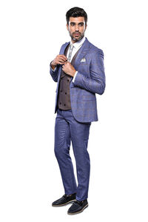 Ekose Lacivert Kombinli Takım Elbise | Wessi - Thumbnail