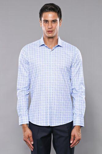 Kare Desen Mavi Uzun Kollu Gömlek   Wessi