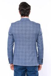 Ekose Mavi Slim Fit Tek Düğme Ceket | Wessi - Thumbnail