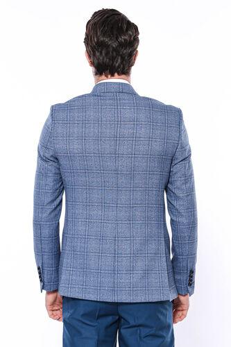 Ekose Mavi Slim Fit Tek Düğme Ceket | Wessi