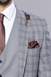 Ekose Mavi Desen Slim Fit Yelekli Takım Elbise | Wessi - Thumbnail