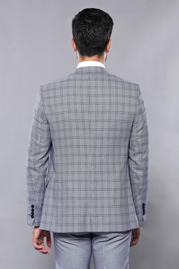 Ekose Mavi Desen Slim Fit Yelekli Takım Elbise | Wessi