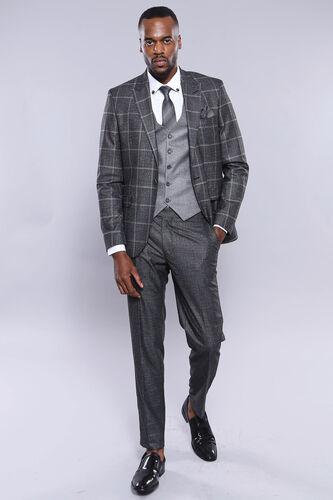 Ekose Siyah Ceket Yelek Pantolon Düz Takım Elbise | Wessi