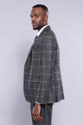 Ekose Siyah Ceket Yelek Pantolon Düz Takım Elbise | Wessi - Thumbnail