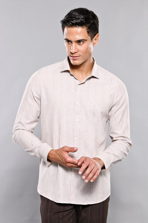 Ekose Desenli Bej Uzun Kollu Gömlek   Wessi