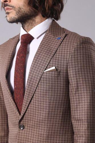 Ekose Tek Düğme Kahverengi Ceket