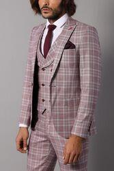 Ekose Yelekli Bordo Takım Elbise | Wessi - Thumbnail