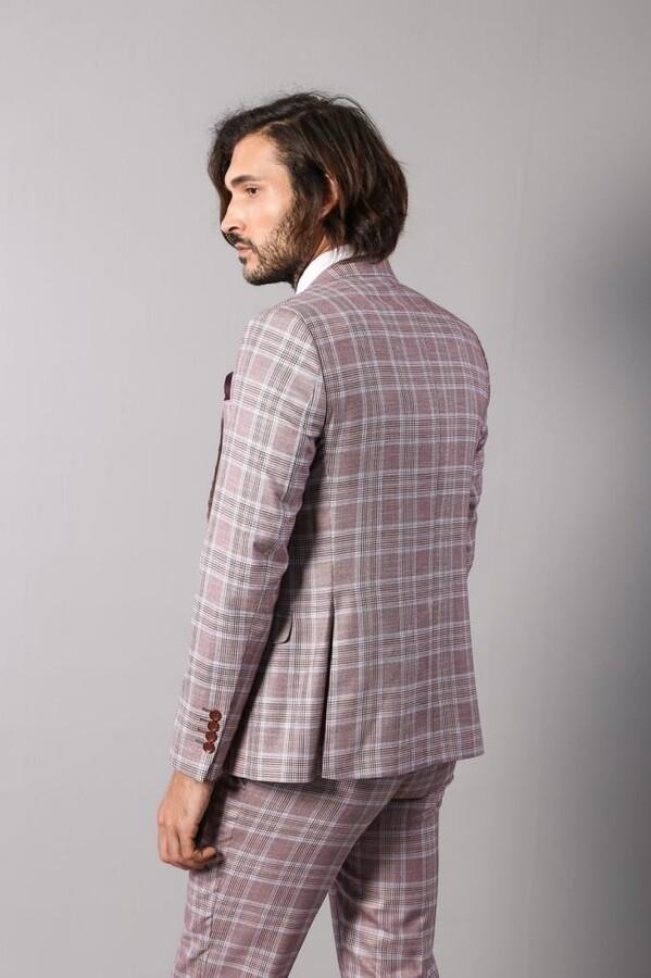 Ekose Yelekli Bordo Takım Elbise | Wessi