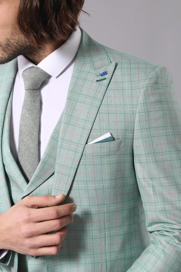Ekoseli Açık Yeşil Takım Elbise | Wessi