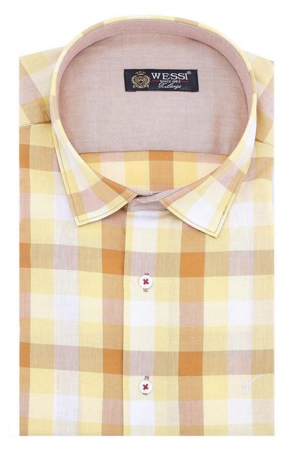 Ekoseli Slimfit Sarı Gömlek