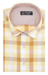 Ekoseli Slimfit Sarı Gömlek - Thumbnail