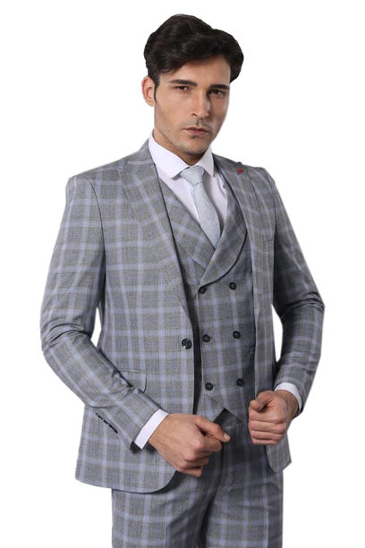 Ekose Yelekli Gri Takım Elbise | Wessi