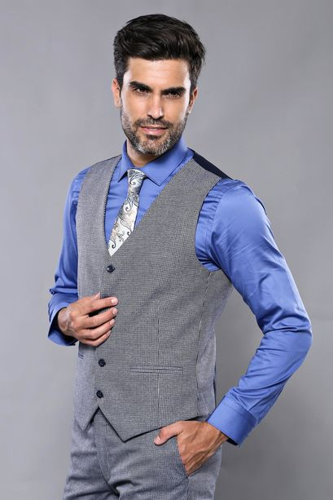 Ekose Lacivert Desen Slim Fit Yelekli Takım Elbise | Wessi