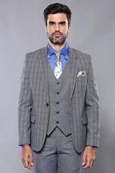 Ekose Lacivert Desen Slim Fit Yelekli Takım Elbise | Wessi - Thumbnail