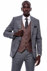 Eksose Gri Ceket Slim Fit Sivri Yaka Takım Elbise - Thumbnail
