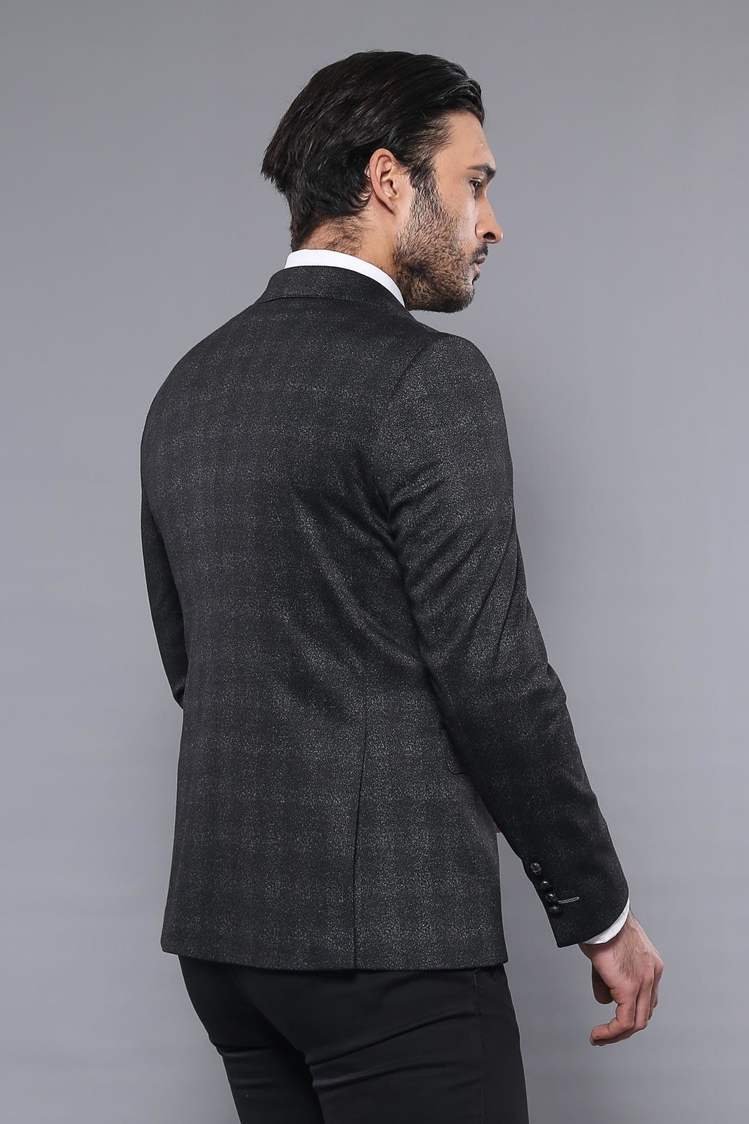 6 Buttoned Checked Black Double Breasted Blazer | Wessi