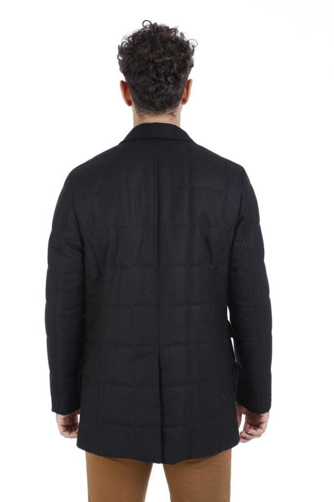 Black Slim Fit Quilted Coat