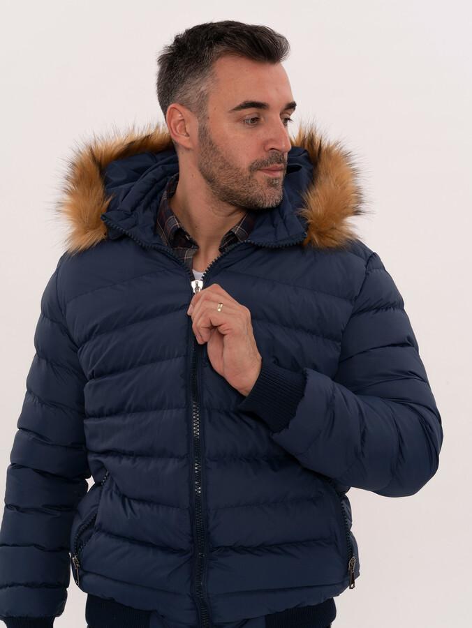Blue Hooded Puffer Coat for Men | Wessi
