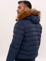 Blue Hooded Puffer Coat for Men | Wessi - Thumbnail