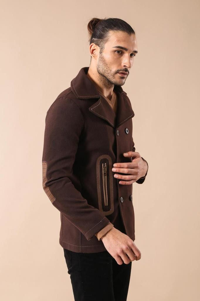 Brown Double Breatsed Cachet Coat
