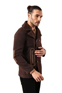 Brown Double Breatsed Cachet Coat - Thumbnail