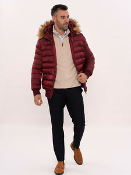 Burgundy Fur Hooded Men's Down Coat   Wessi - Thumbnail