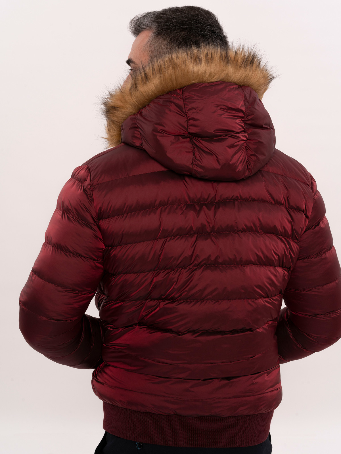 Burgundy Fur Hooded Men's Down Coat   Wessi