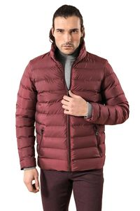 Burgundy Short Down Jacket | Wessi - Thumbnail