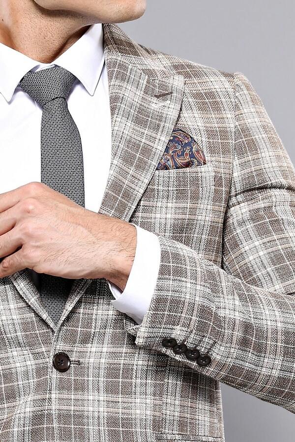 Checked Brown Slim-Fit Blazer | Wessi