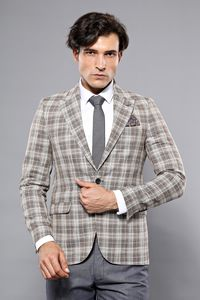 Checked Brown Slim-Fit Blazer | Wessi - Thumbnail