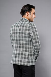Checked Green Slim-Fit Blazer | Wessi - Thumbnail