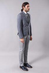 Checked Grey Men's Blazer | Wessi - Thumbnail