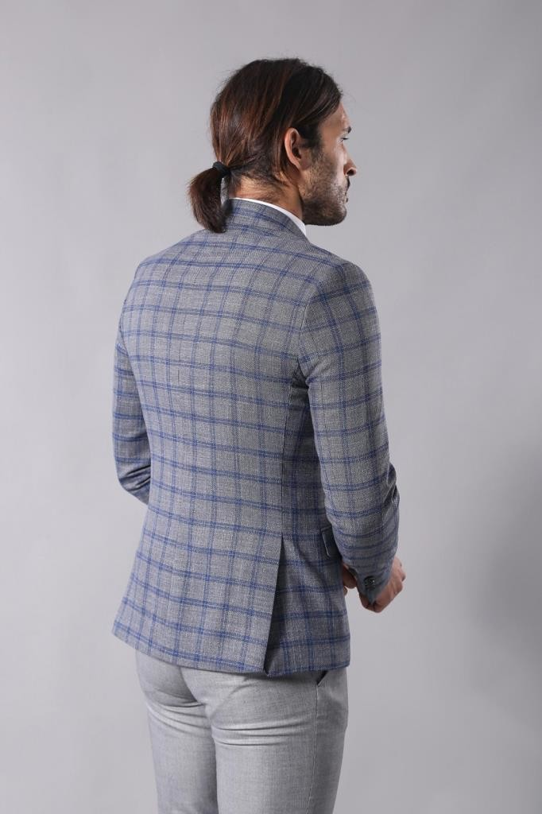 Checked Grey Men's Blazer | Wessi