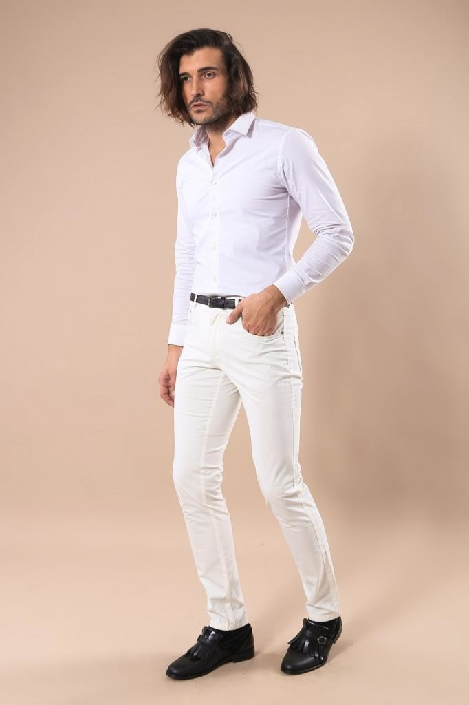 Cotton White Colored 5 Pocket Slim Fit Trousers | Wessi