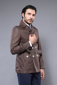 Double Breasted Brown Trenchcoat - Thumbnail