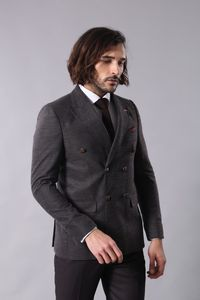 Double Breasted Slim Fit Brown Blazer - Thumbnail