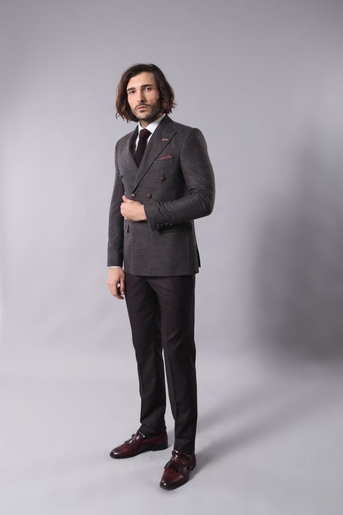 Double Breasted Slim Fit Brown Blazer