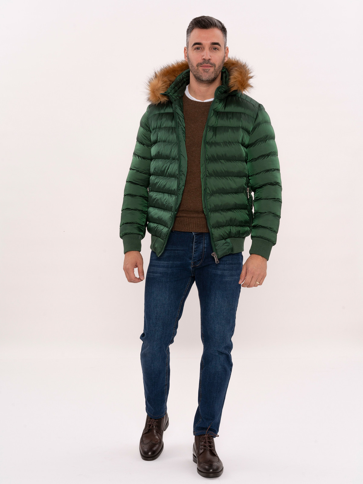 Fur Hooded Green Quilted Coat for Men | Wessi