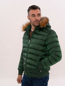 Fur Hooded Green Quilted Coat for Men | Wessi - Thumbnail