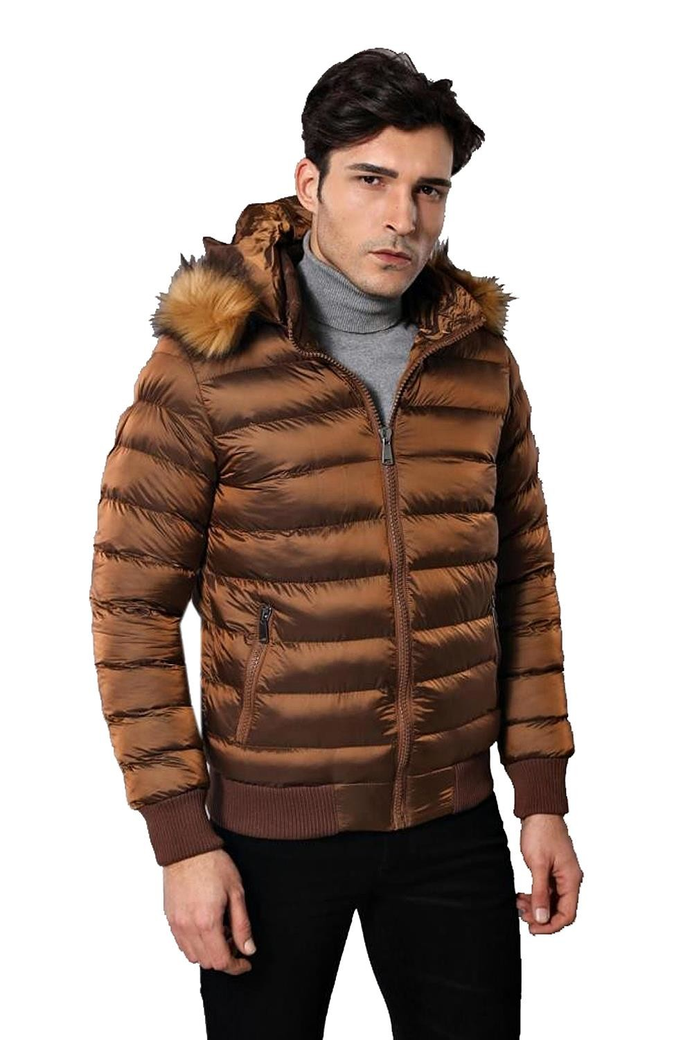 Fur Hooded Men's Puffer Coat in Tan | Wessi