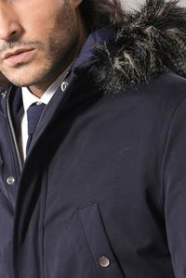 Fur Hooded Parka Blue Coat - Thumbnail