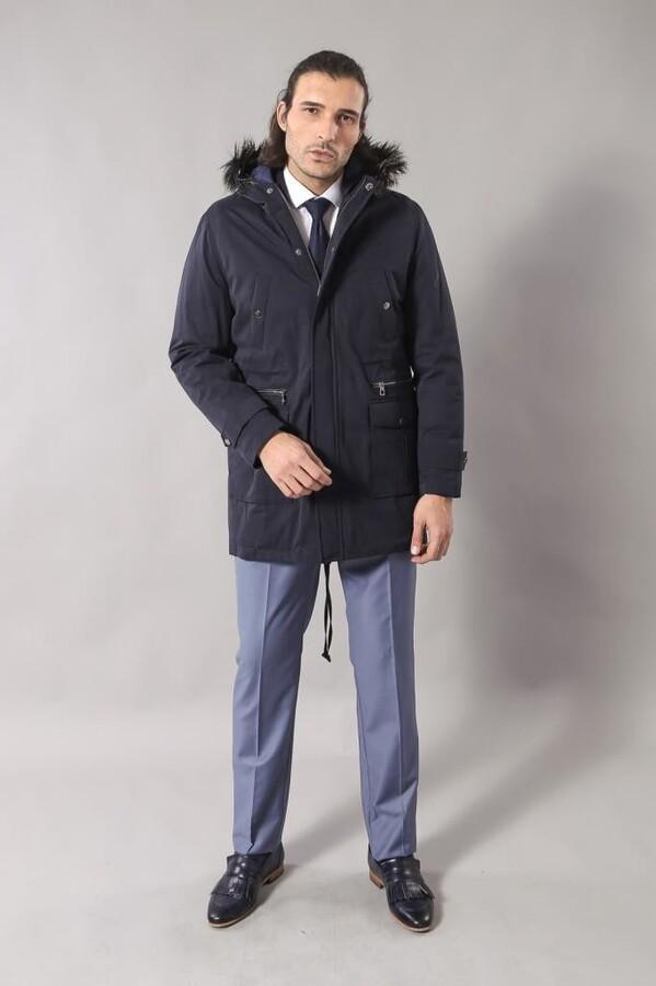 Fur Hooded Parka Blue Coat
