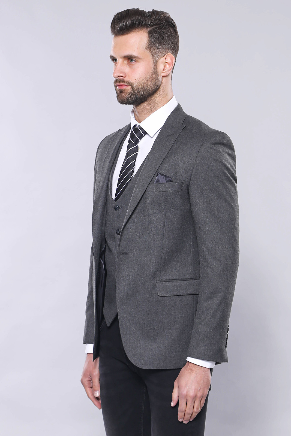 Grey Plain Blazer and Vest Set   Wessi