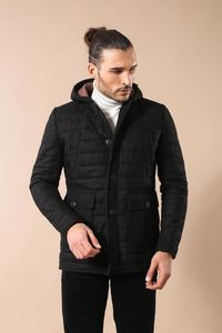 Hooded Black Felt Coat - Thumbnail